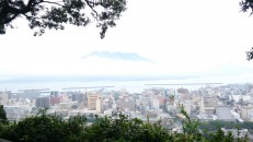 View of Kagoshima and the nearby island volcano. Apparently at increased risk of eruption at the moment!