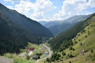The road through the valley leading up to the pass to Transylvania