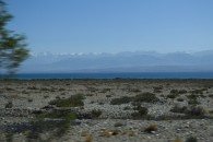 View from car approaching Issyk Kul Lake