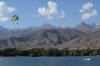 Parasa[ling over Issyk Kul Lake