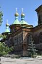 Ornate woodwork Karakol church