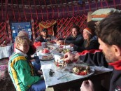Dinner in the yurt camp