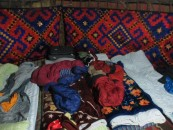 Sleeping quarters in the yurt