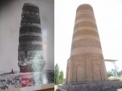Before and after restoration Burana Tower