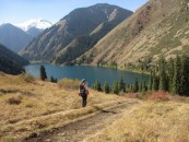 Heading down to Lake Kol'sai #1. There are 3 lakes in a chain, with #3 being very close to the Kyrgyzstan border in the Toen Sien mountains.